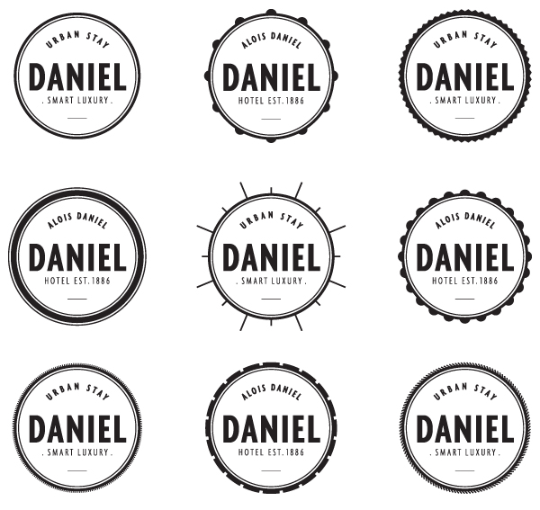 Logo variations designed by Moodley for Vienna and Graz based luxury hotel Daniel