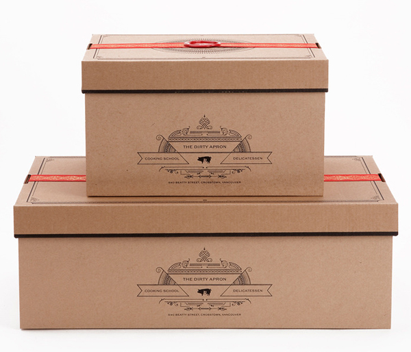 Uncoated unbleached boxes with illustrative detail created by Glasfurd & Walker for delicatessen The Dirty Apron