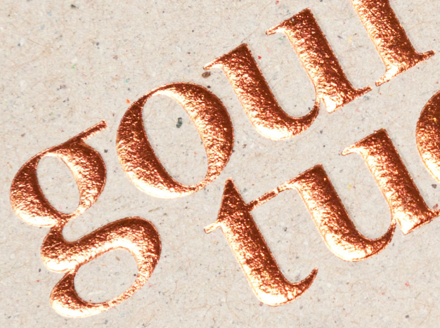 Logo and mixed fibre business with copper foil print finish designed by Supply for Auckland deli Gourmet Tucker