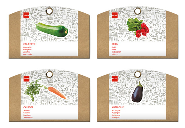 Packaging with illustrative and photographic detail designed by Studio Kluif for Hem's Grow Your Own Range