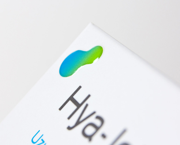 Packaging with a raised gel-like print finish for Hya-Joint designed by Artentiko