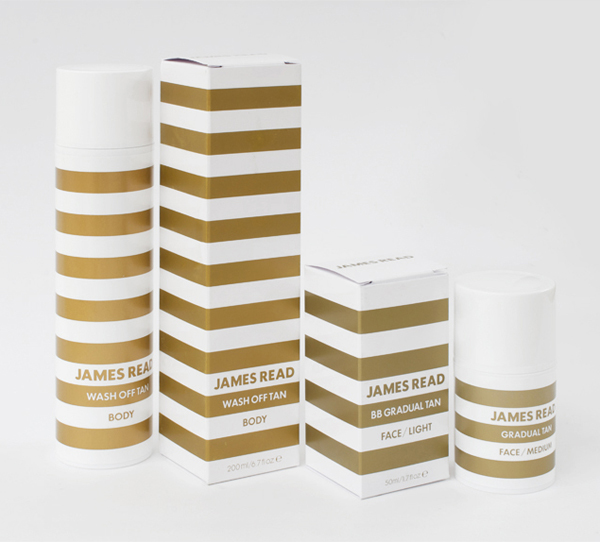 Packaging with gold spot colour detail for James Read's premium tanning range designed by Studio Makgill