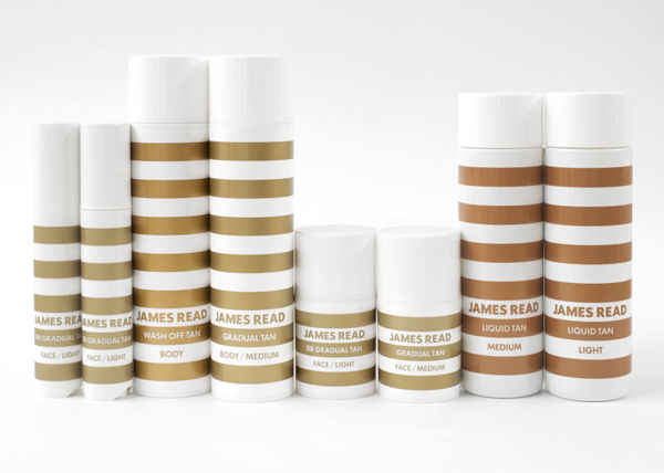 Packaging with gold and bronze spot colour detail for James Read's premium tanning range designed by Studio Makgill