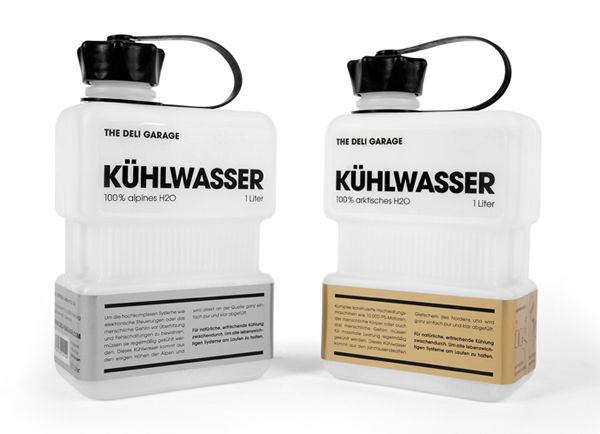 Packaging with gold and silver label detail designed by Rocket & Wink for The Deli Garage's premium glacial water product Kühlwasser
