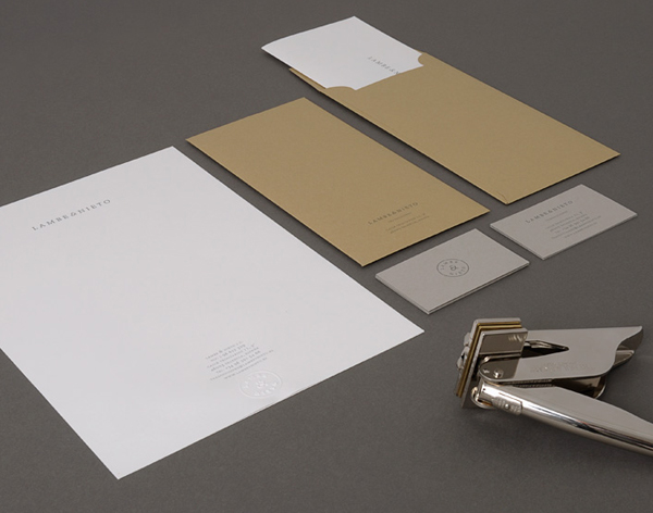 Logo and stationery designed by Boscos for Spanish translation service provider Lambe & Nieto