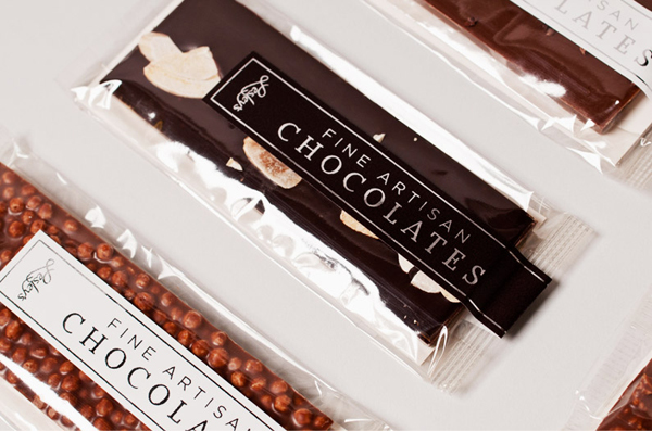 Packaging with silver foil detail designed by YUI Studio for US based confectioner Lesley's Gourmet