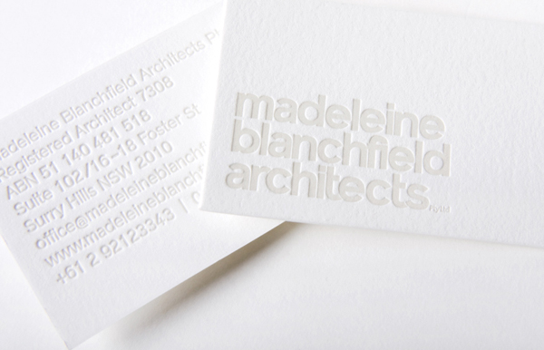 Logo and blind embossed business card for Madeleine Blanchfield Architects designed by A Friend Of Mine