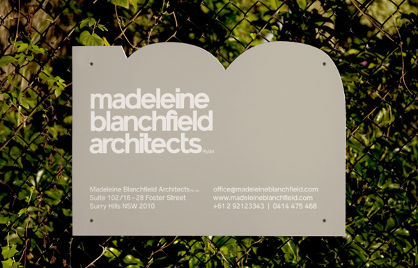 Logo and signage for Madeleine Blanchfield Architects designed by A Friend Of Mine