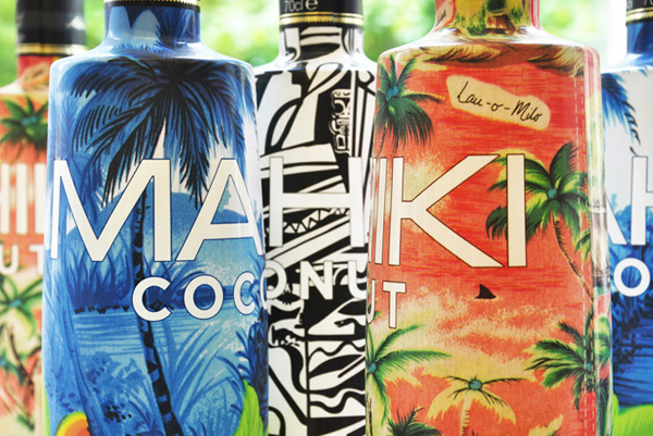 Packaging design with illustrative detail created by Design Bridge for night club Mahiki's premium coconut liqueur