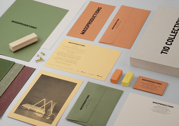 Logo and stationery for furniture company Massproductions designed by Britton Britton