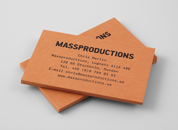 Logo and business card for furniture company Massproductions designed by Britton Britton