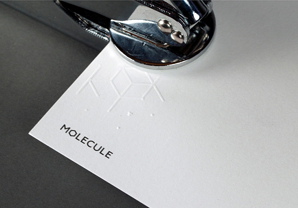 Logo And Hand Embossed Business Card For Architecture Interior Design Studio Molecule Created By