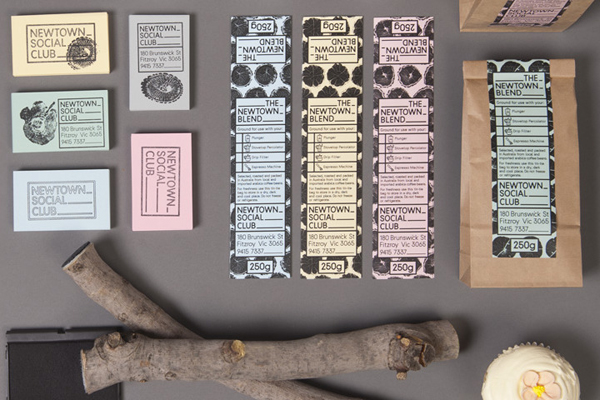 Packaging and stationery designed by Liquorice Studio for cafe and coffee shop Newtown Social Club