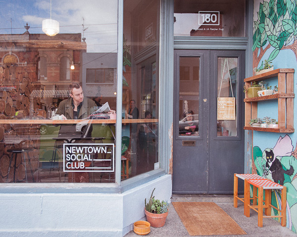 Logo and window decals designed by Liquorice Studio for cafe and coffee shop Newtown Social Club