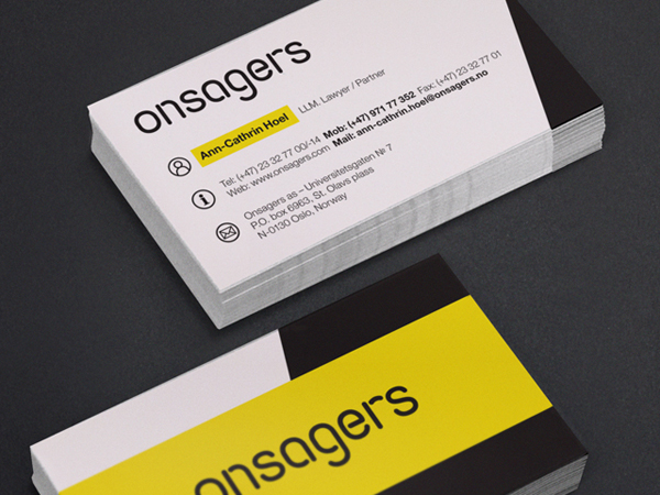 Logo and business card designed by Uniform for intellectual property specialist Onsagers