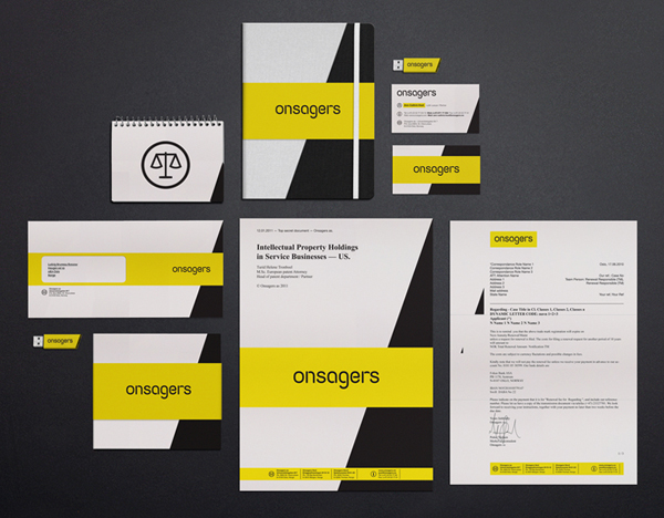 Logo and stationery designed by Uniform for intellectual property specialist Onsagers