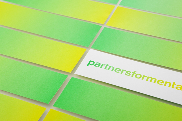 Logo and print with fluorescent yellow and green print treatment created by Blok for Canadian charity Partners For Mental Health