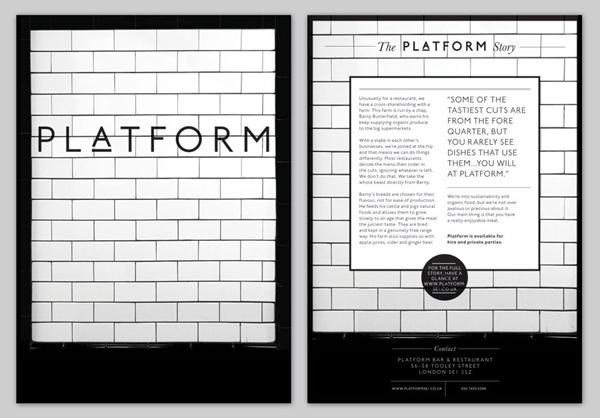 Logo and menu for London bar and restaurant Platform designed by Substrak