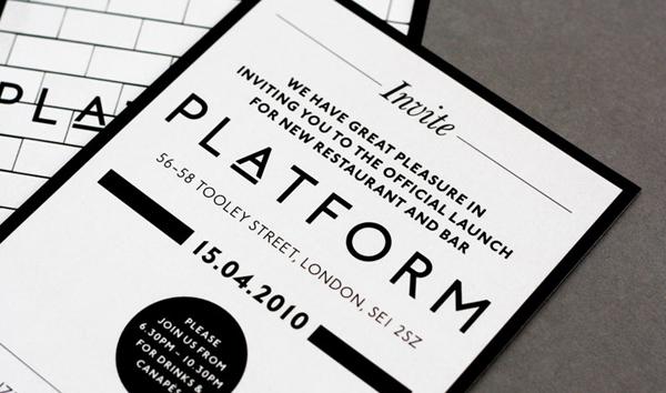 Logo and print for London bar and restaurant Platform designed by Substrak