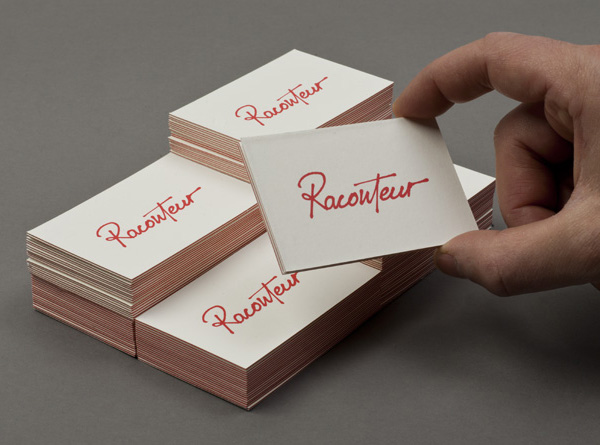 Script logotype and business cards created by Christian Bielke for web production and advertising company Raconteur
