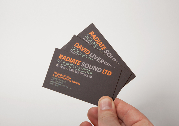 Logo and business card designed by Bradley Rogerson for recording and engineering studio Radiate Sound