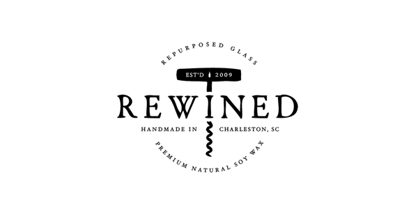 Logo for candle in a wine bottle brand Rewined designed by Stitch