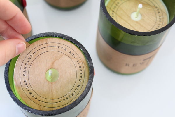 Packaging with wood detail created by Stitch for soy wax candle brand Rewined