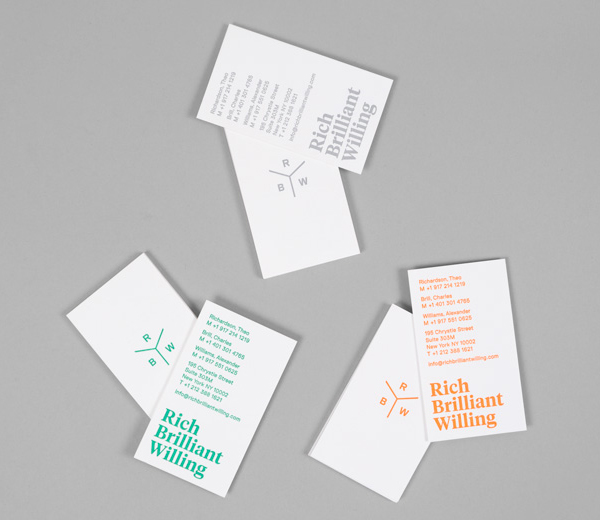 Logo and business cards designed by Project Projects for Manhattan based furniture and lighting design studio Rich Brilliant Willing