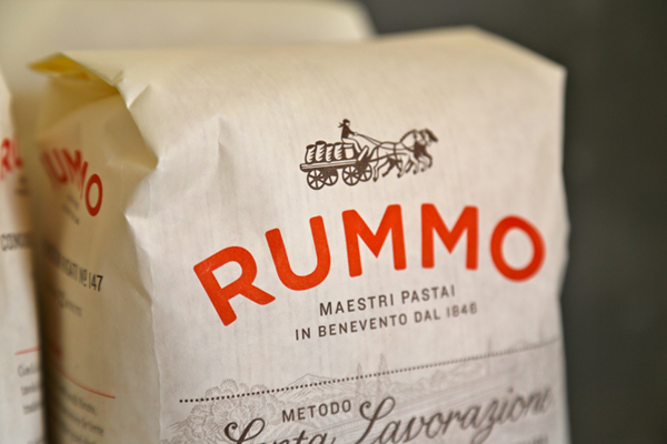 Packaging with fine fine illustrative detail designed by Irving & Co. for Italian pasta manufacturer Rummo