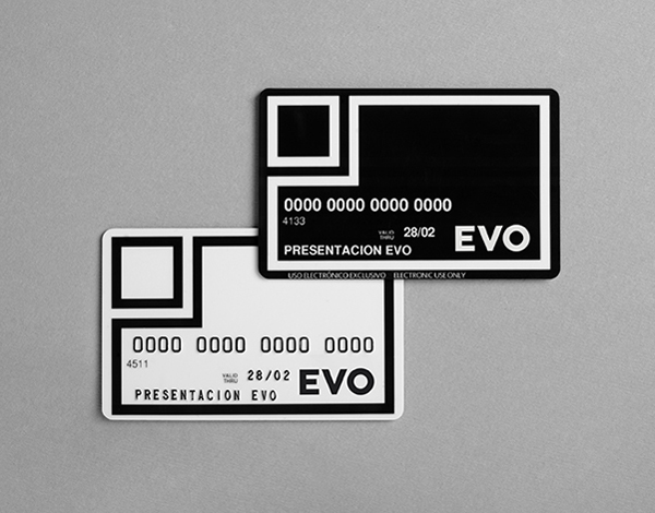 Logo and debit cards with a restrained geometric and monochromatic aesthetic for Spanish bank Evo designed by Saffron