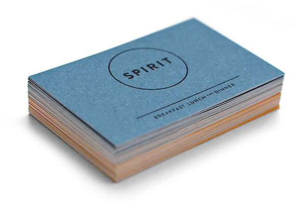 Logo and uncoated, dyed business card for vegetarian restaurant Spirit designed by Studio Beige