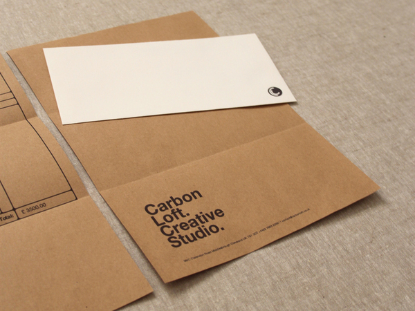 Logo and stationery with unbleached paper detail designed by and for independent graphic design studio Carbon Loft
