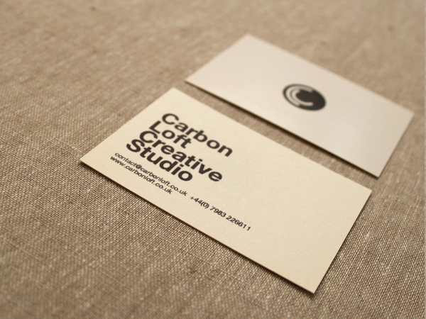 Logo and business cards designed by and for independent graphic design studio Carbon Loft