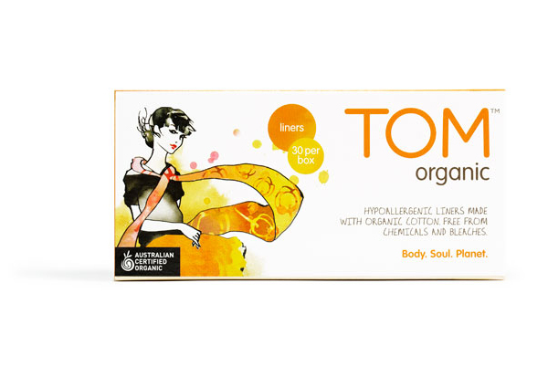 Packaging with watercolour illustrative detail designed by Truly Deeply for biodegradable fem­i­nine hygiene line Tom Organic