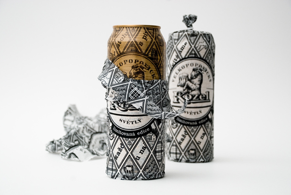 Packaging with heat treated wood effect and tissue wrap designed by Yurko Gutsulyak for Czech brewer Velkopopovický Kozel