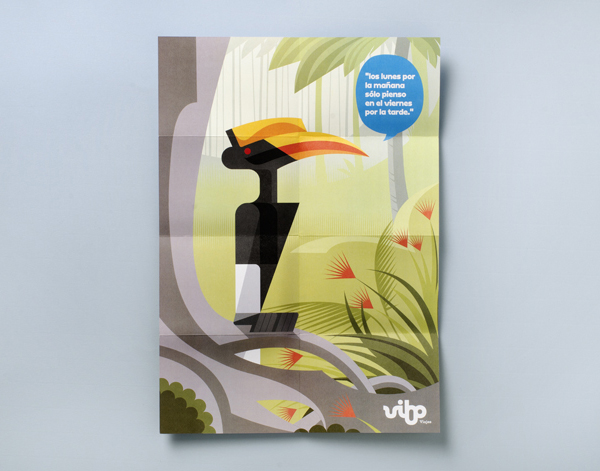 Logo and illustrative print designed by Saffron for Spanish high street travel agent Vibo