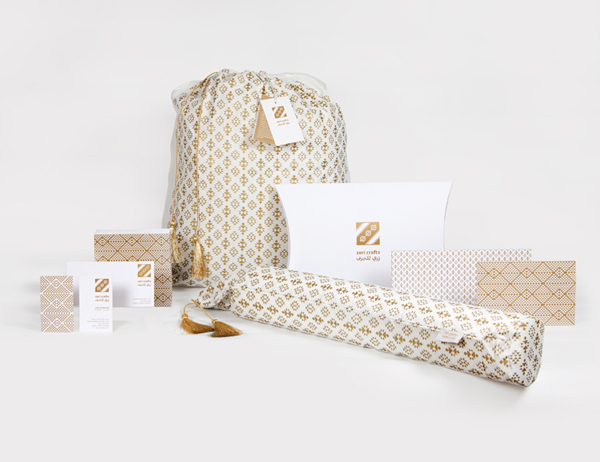 Logo, stationery and packaging with gold metallic spot colour detail designed by Rocío Martinavarro for textile producer Zeri Crafts