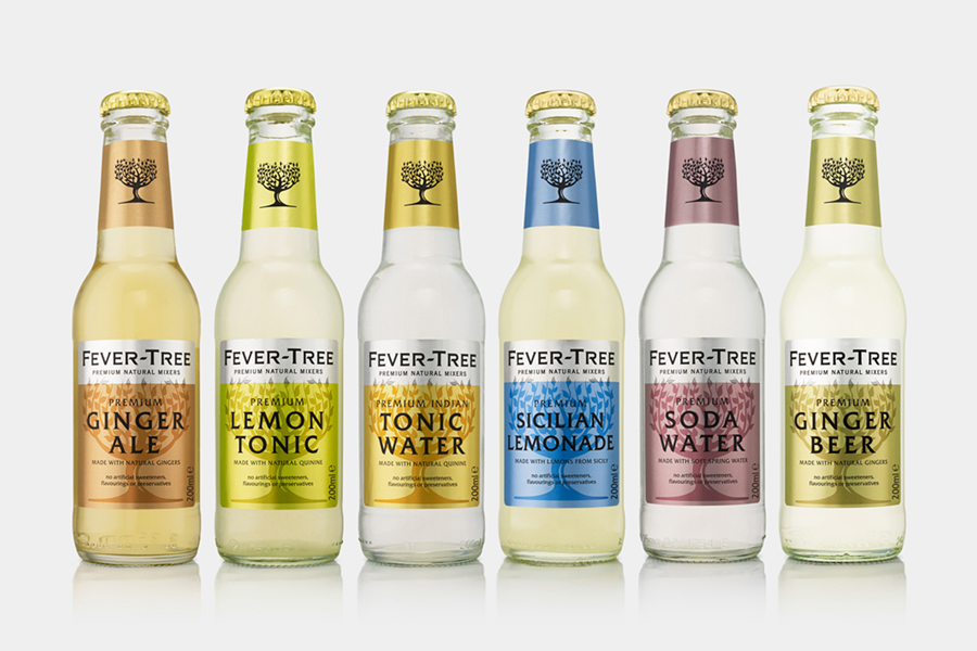 Package design by London based B&B Studio for premium natural tonic and soft drink mixer brand Fever-Tree