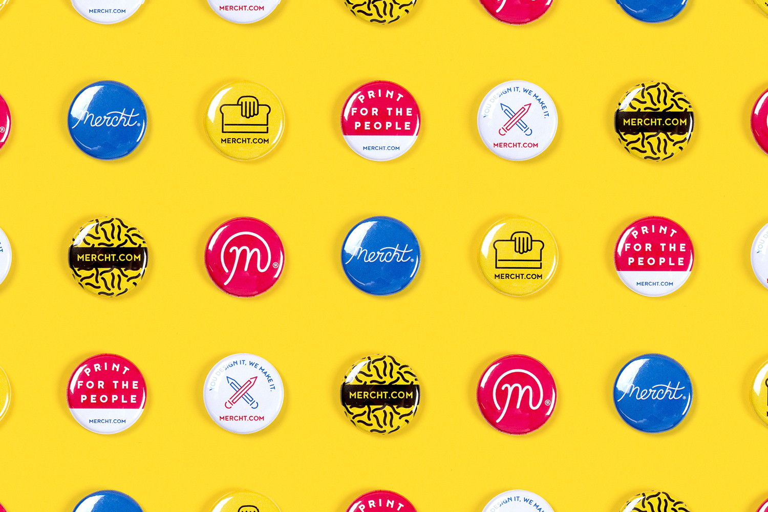 Brand identity and badges for UK based custom merchandise business Mercht by Robot Food