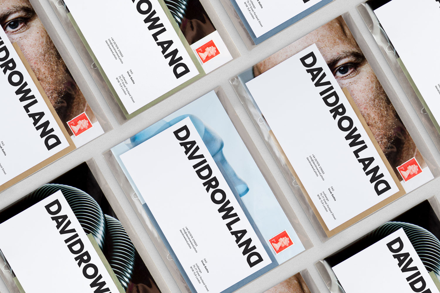Brand identity and mailers by London-based graphic design studio ico Design for photographer David Rowland