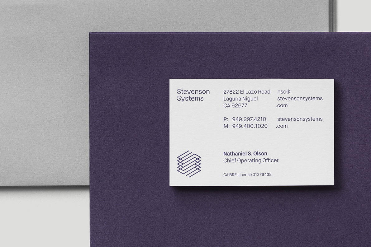 Logo and business cards by London-based Socio Design for space accounting specialist Stevenson Systems