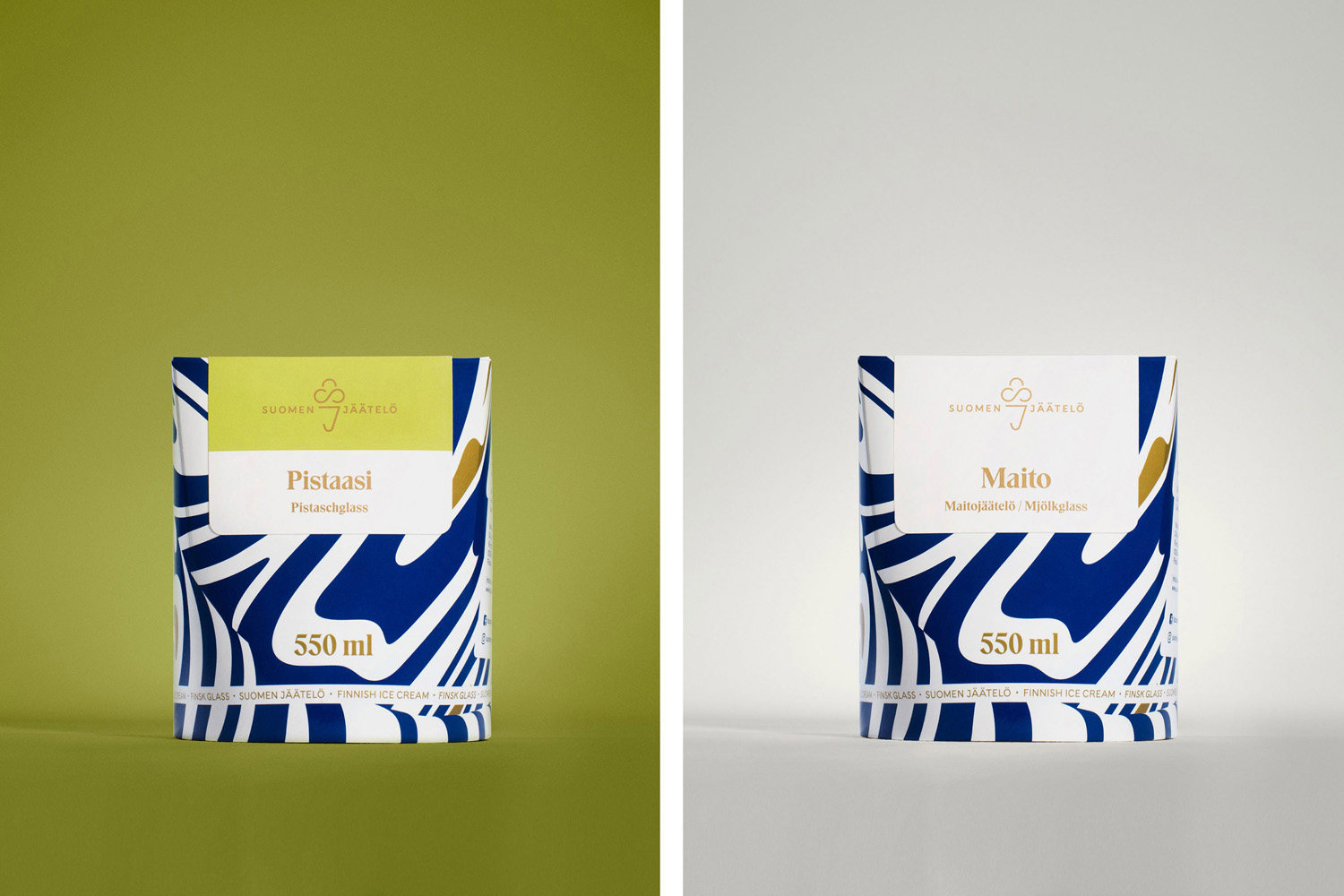 Brand identity and package design by Helsinki-based Werklig for Finnish ice cream brand Suomen Jäätelö