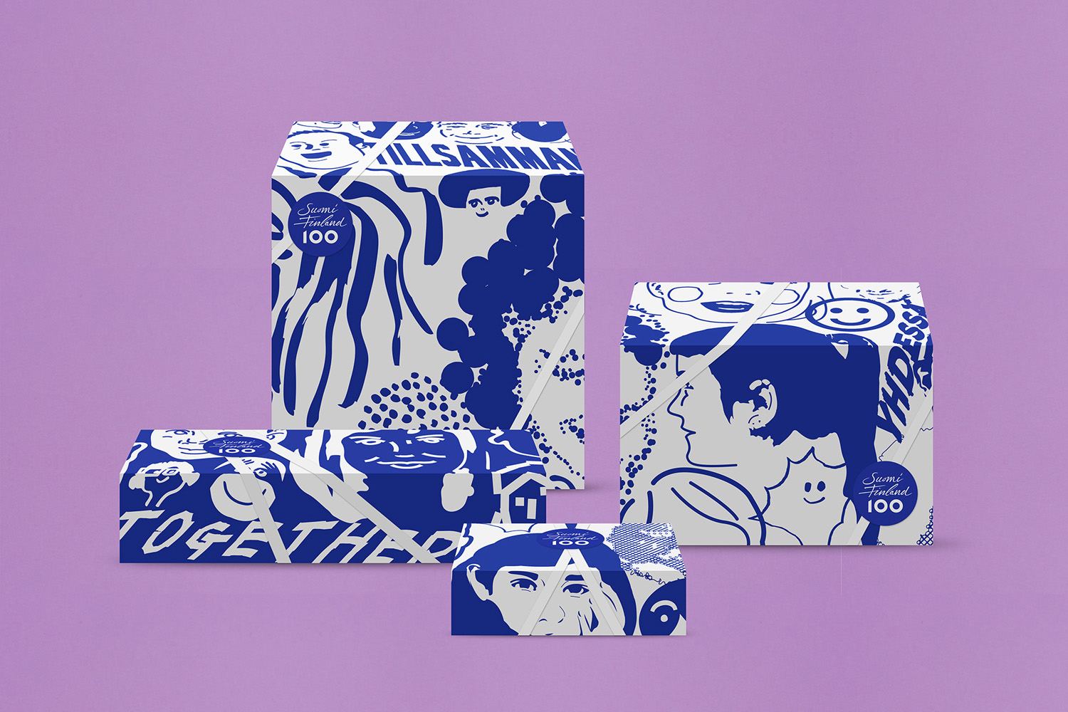 Brand identity, illustration and packaging by Kokoro & Moi for the celebration of Finland's centenary
