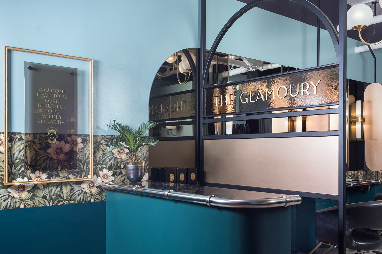 Brand identity and signage by Canadian design studio Glasfurd & Walker for Vancouver-based luxury make-up and styling salon The Glamoury.