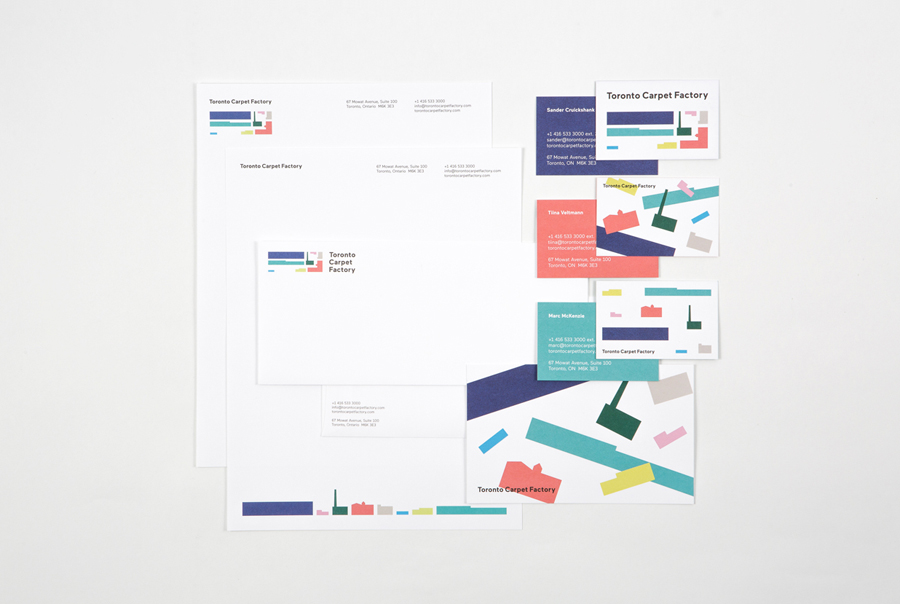 Brand identity and stationery for Toronto Carpet Factory by graphic design studio Bruce Mau Design
