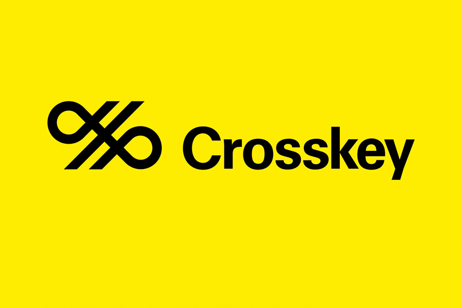 Logo for banking systems and solutions firm Crosskey designed by Kurppa Hosk
