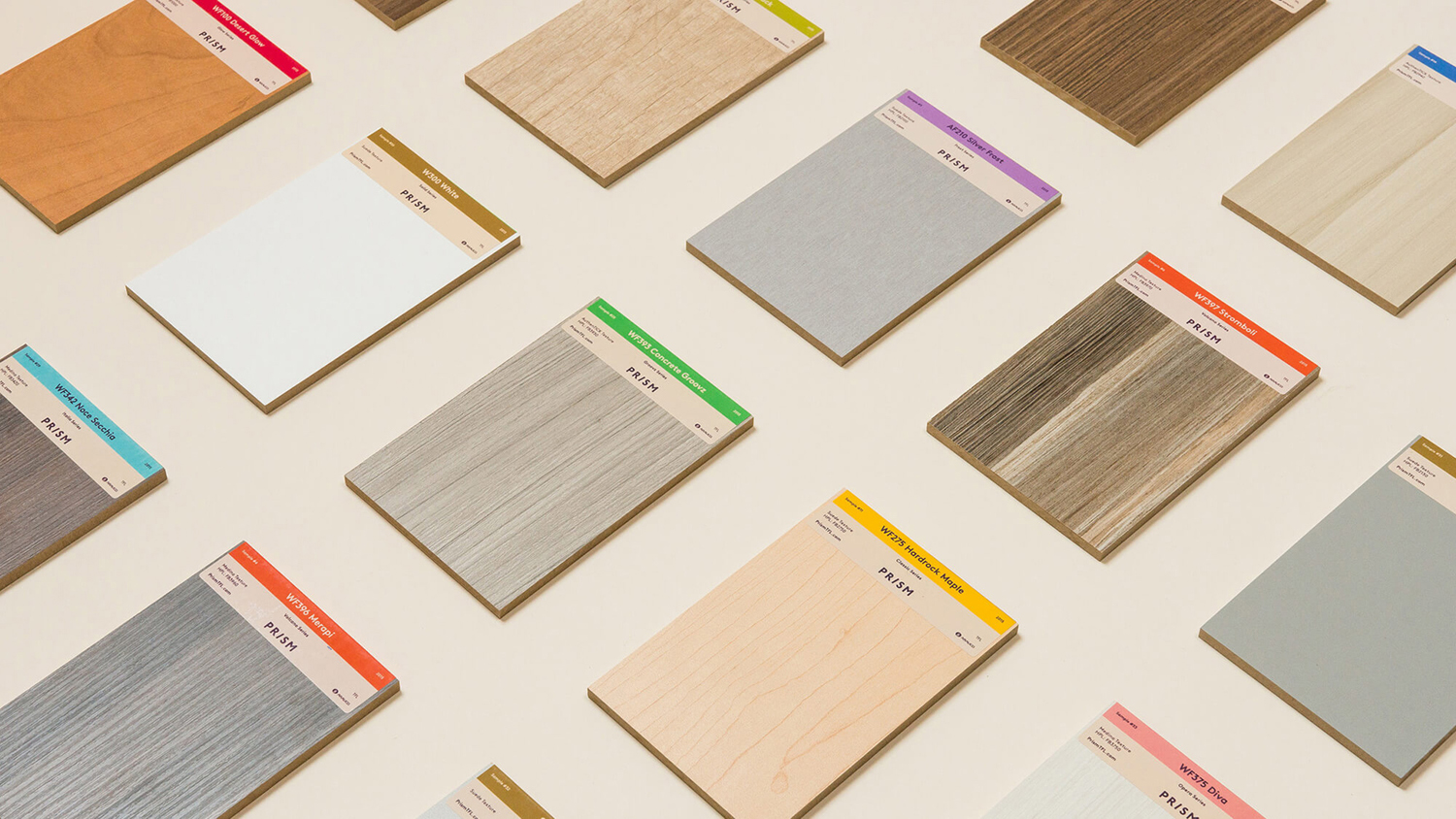 Brand identity and sample labels for American laminate brand Prism by Atlanta based graphic design studio Matchstic
