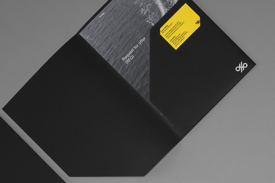 Logo and black folder for banking systems and solutions firm Crosskey designed by Kurppa Hosk