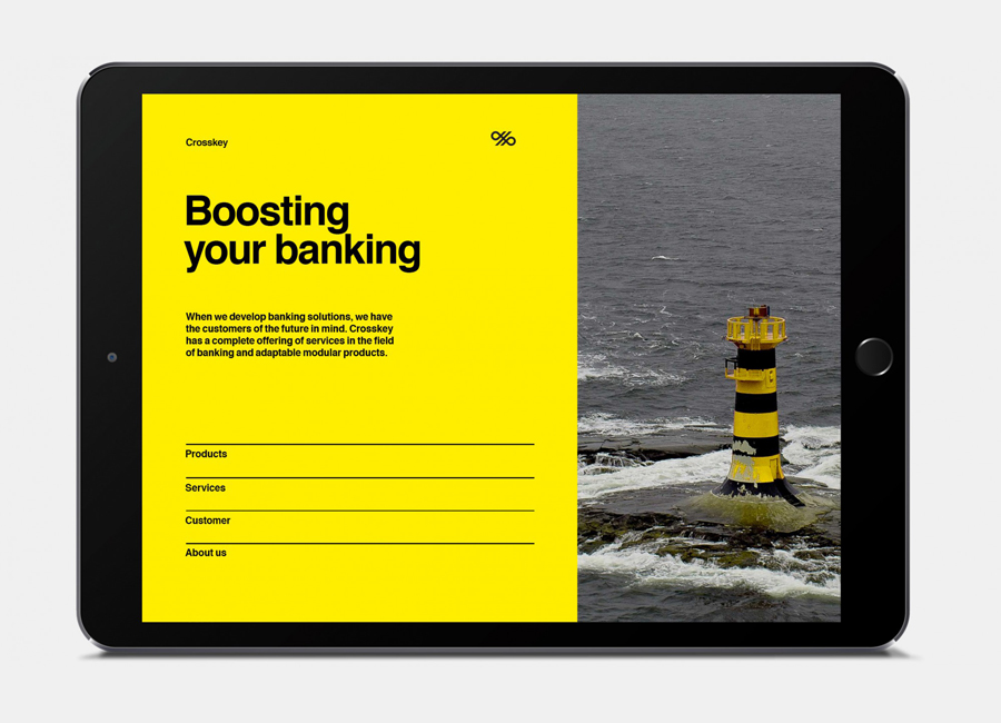 Logo and mobile website for banking systems and solutions firm Crosskey designed by Kurppa Hosk