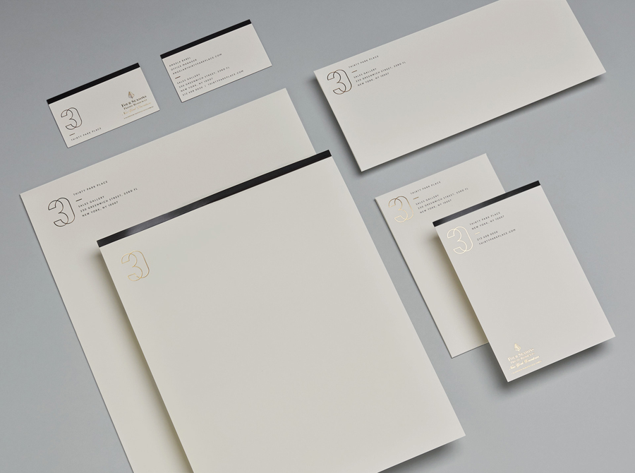 Gold foiled stationery for Four Seasons private residence 30 Park Place by Mother